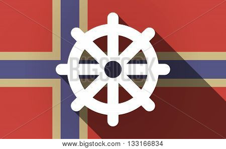 Long Shadow Norway Flag With A Dharma Chakra Sign
