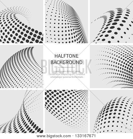 Halftone dots abstract vector shapes set. Halftone dotted set texture and pattern halftone shape illustration