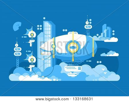 Airship design flat. Old aircraft in air, dirigible for travel and transport aviation, vector illustration