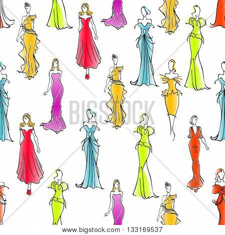 Gorgeous fashionable women in formal wear seamless pattern background with colorful long silk sleeveless and one shoulder evening gowns and cocktail dresses. Great for fashion industry design usage