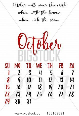 Calendar design grid in hand written style with russian proverbs adages and saying and dates of autumn month October 2017. Vector illustration