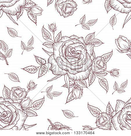 Seamless pattern vintage rose. Floral pattern of roses. Vintage flower background. Vector rose pattern on a white background. Design for card, mothers day, wedding, birthday, textile, web, wallpaper