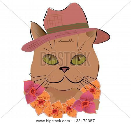 Smiling Cat Hat and Flower Wreath  on Hawaii