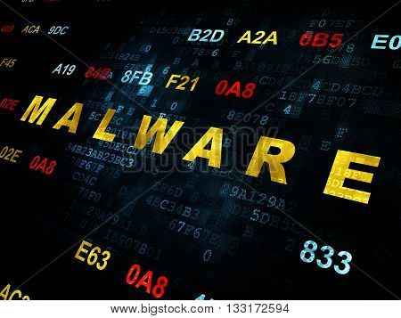 Security concept: Pixelated yellow text Malware on Digital wall background with Hexadecimal Code