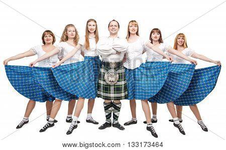 Group Of Dancers Of Scottish Dance