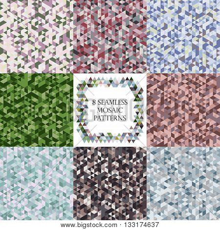 Set of mosaic triangle blue green grey seamless patterns