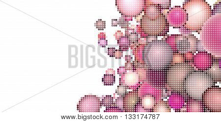 pink bubble illustration made with bubbles over white