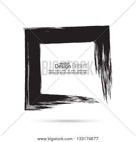 Hand drawn square, photo, foto frame. Text box smears. Vector Black border. Grunge banner.