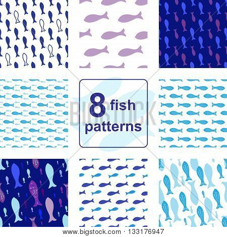 Blue Vector Seamless pattern set with fish silhouettes. Endless background collection