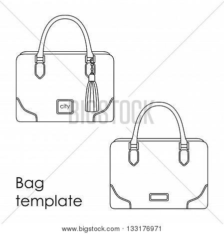 Vector female bag line template model in line art style