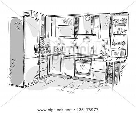 Kitchen interior drawing, vector illustration eps 10