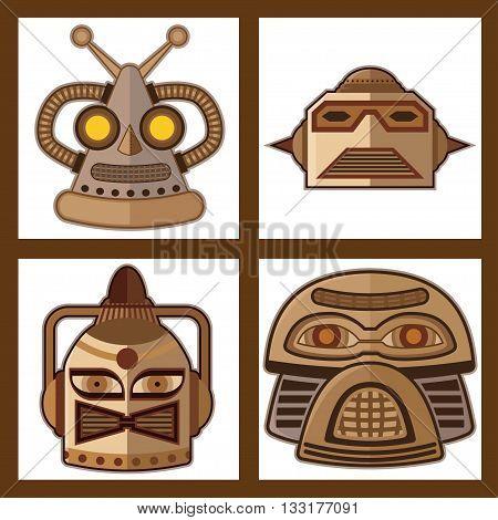 Tin Toy Robot Head vector new design.