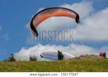 CALDELAS, PORTUGAL - JUNE 4: Paragliding Festival Aboua Cup de Caldelas 2016, in the north of Portugal, 4 June, 2016, Caldelas, Portugal.