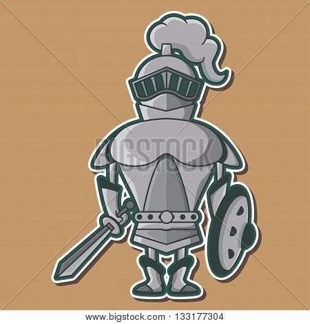 Cute Steel Knight warrior mascot Vector Design