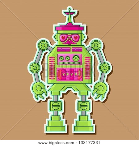 Green Retro Cute Robot toy Vector Design