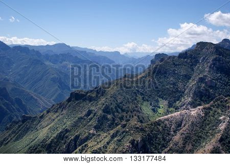 Mountainous landscapes of Copper Canyons in Chihuahua Mexico