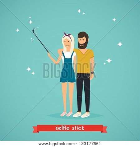 Young couple taking a selfie with selfie stick. Cartoon man and woman. Concept of friendship and fun with new trends and technology. Vector selfie people.
