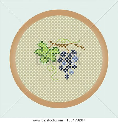 Embroidery grapes from a series of the Embroidered fruits. Vector illustration: the grapes that are cross stitched in a round frame