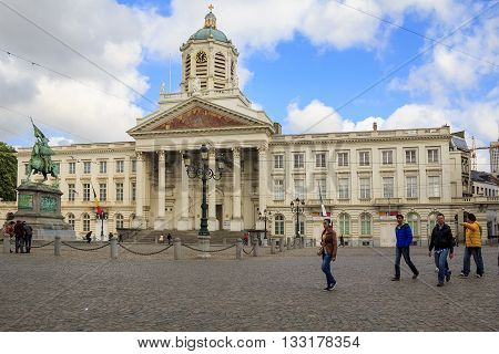 BRUSSELS, BELGIUM - MAY 10, 2013: This is the Royal Square with church Saint Jacques-sur-Coudenberg and monument of Godefroid Van Bouillon.