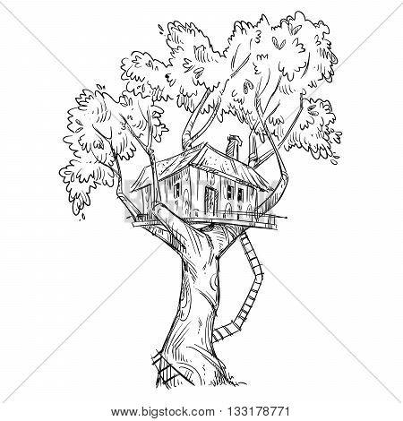 Treehouse. Hand drawn, vector illustration eps 10