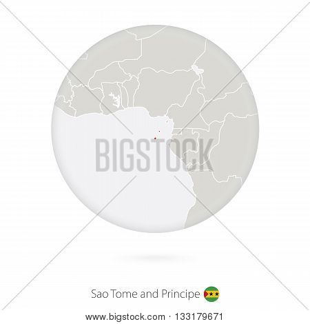Map Of Sao Tome And Principe And National Flag In A Circle.