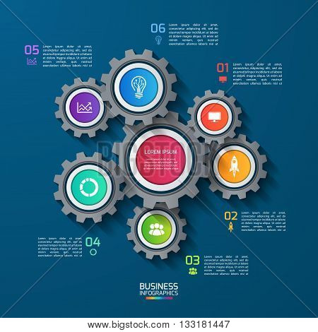Vector infographic template with gears cogwheels. Business and industrial concept with 6 options parts steps. Can be used for infographics diagram graph presentation report.