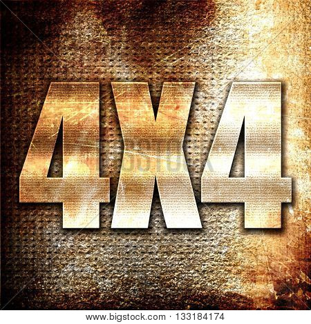 4x4, 3D rendering, metal text on rust background