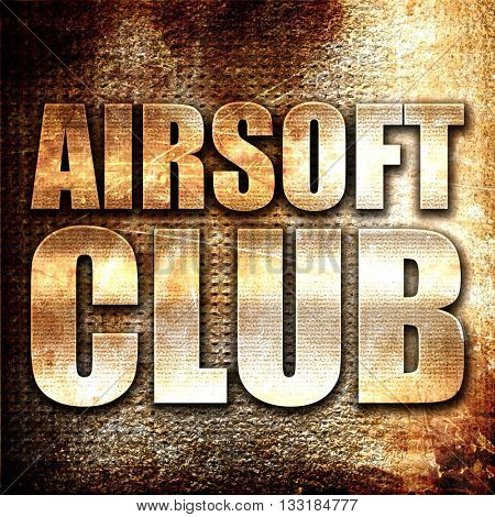 Airsoft club, 3D rendering, metal text on rust background