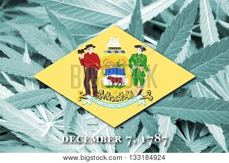 Flag Of Delaware State, On Cannabis Background