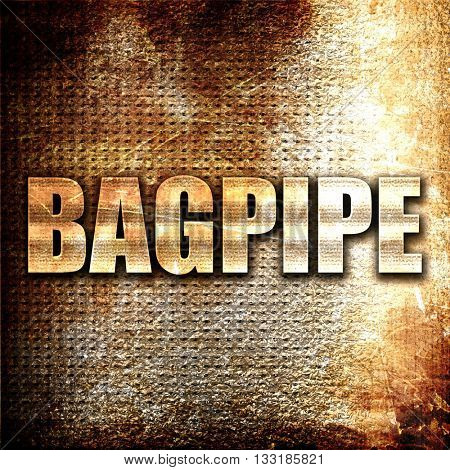 bagpipe, 3D rendering, metal text on rust background