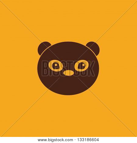 abstract cute cat face on a yellow background