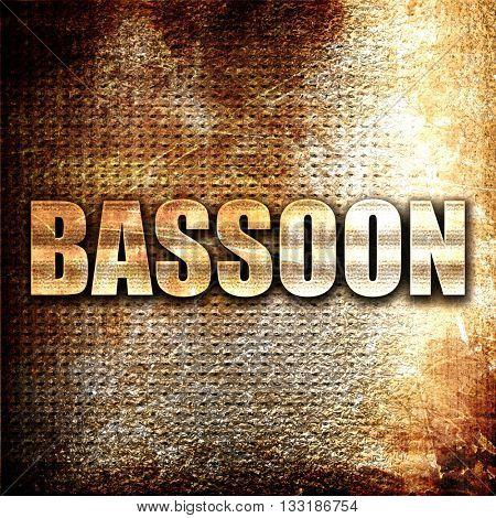 bassoon, 3D rendering, metal text on rust background