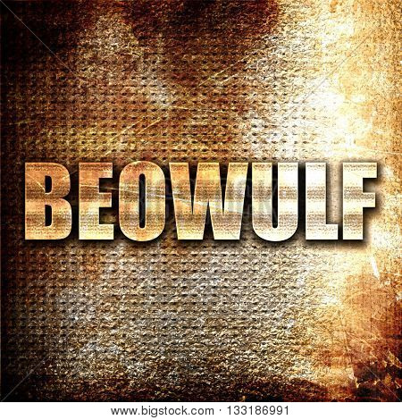 beowulf, 3D rendering, metal text on rust background