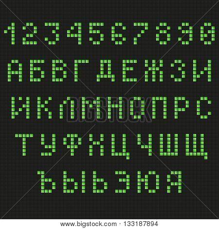 Cyrillic font. Digital scoreboard font. LED font. Russian font. Uppercase font. Information table font. Green Letters Font