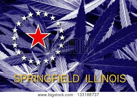 Flag Of Springfield, Illinois, On Cannabis Background