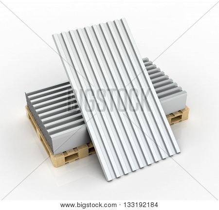 Steel goffered plates for roof decoration. 3d illustration