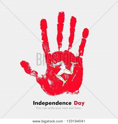 Hand print, which bears the Flag of the Isle of Man. Independence Day. Grunge style. Grungy hand print with the flag. Hand print and five fingers. Used as an icon, card, greeting, printed materials.