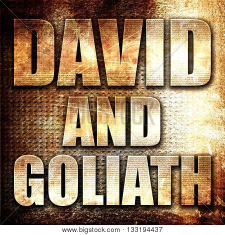 david and goliath, 3D rendering, metal text on rust background