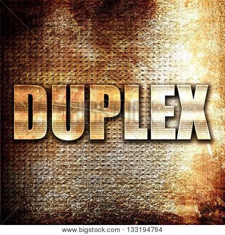 duplex, 3D rendering, metal text on rust background