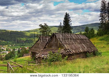 Abandoned house in Carpatian mountains in Ukraine.