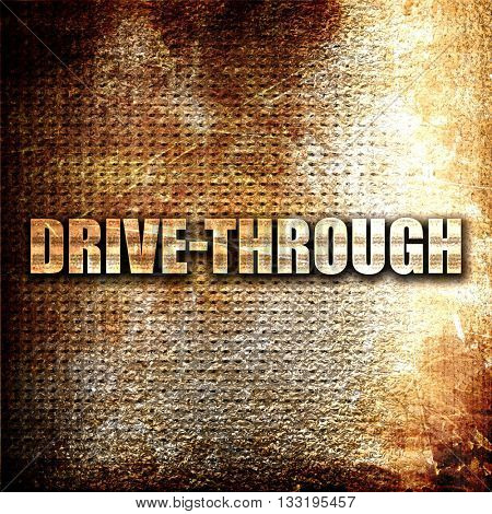 drive through, 3D rendering, metal text on rust background