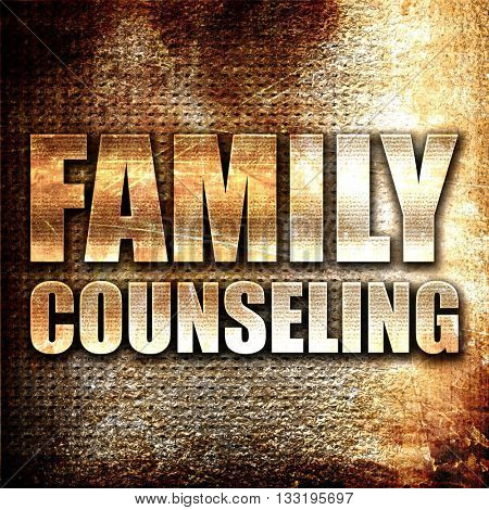 family counseling, 3D rendering, metal text on rust background