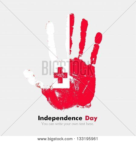 Hand print, which bears the Flag of Tonga. Independence Day. Grunge style. Grungy hand print with the flag. Hand print and five fingers. Used as an icon, card, greeting, printed materials.