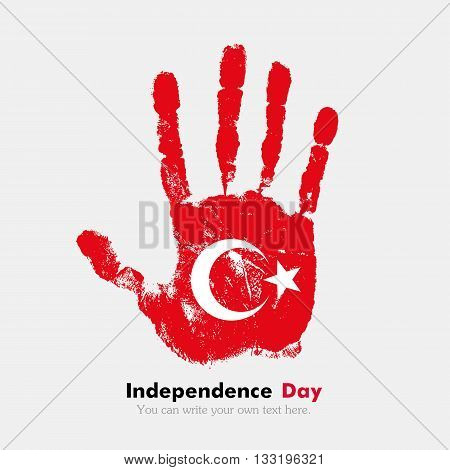 Hand print, which bears the Flag of Turkey. Independence Day. Grunge style. Grungy hand print with the flag. Hand print and five fingers. Used as an icon, card, greeting, printed materials.