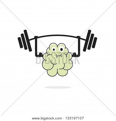 Brain training vecot illustration icon isolated on white background, character face with weight