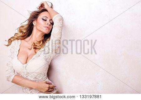 Romantic Sexy Woman Posing In Studio.