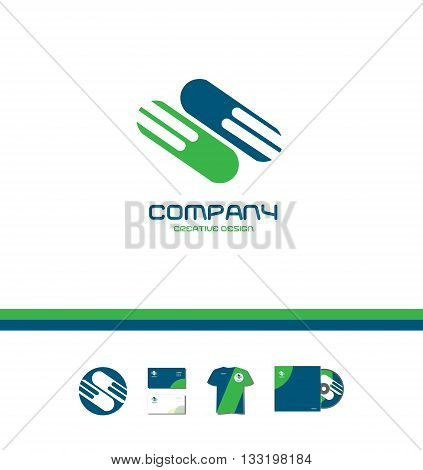 Vector company logo icon element template abstract green blue sign