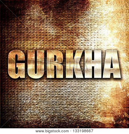 gurkha, 3D rendering, metal text on rust background