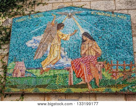 NAZARETH ISRAEL - MARCH 24: Mosaic panel depicting the Virgin Mary and Angel Basilica of the Annunciation in Nazareth Israel on March 24 2016