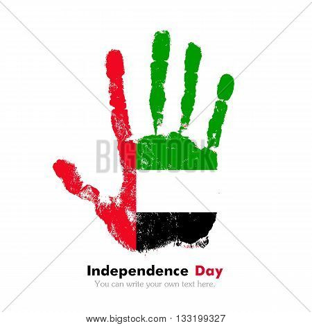 Hand print, which bears the Flag of United Arab Emirates. Independence Day. Grunge style. Grungy hand print with the flag. Hand print and five fingers. Used as an icon, card, greeting, printed materials.